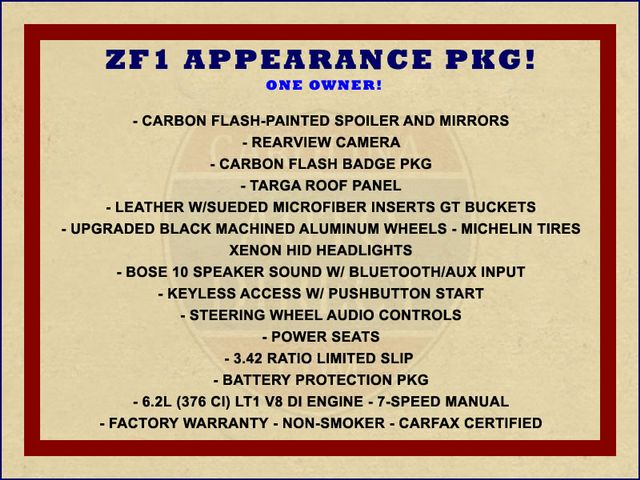2015 Chevrolet Corvette LT - ZF1 APPEARANCE & CARBON FLASH PKGS! Mooresville , NC 1
