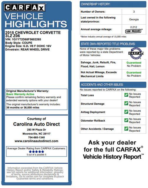 2015 Chevrolet Corvette Z06 3LZ - CARBON FLASH GROUND EFFECTS PKG! Mooresville , NC 3