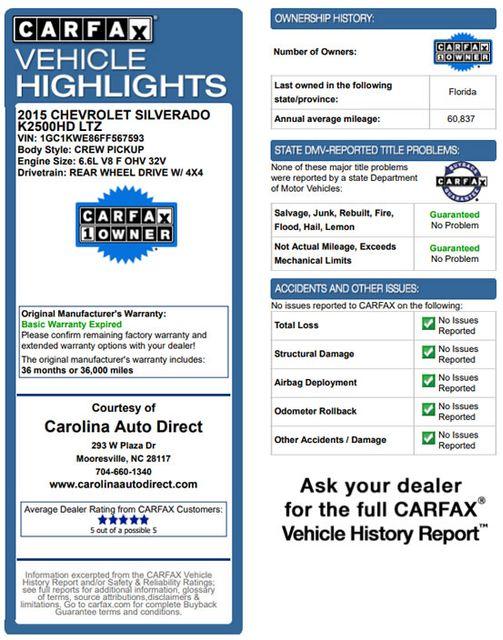 2015 Chevrolet Silverado 2500HD Built After Aug 14 LTZ PLUS Crew Cab 4x4 Z71 - NAV - SUNROOF! Mooresville , NC 3