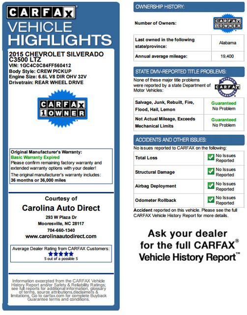 2015 Chevrolet Silverado 3500HD Built After Aug 14 LTZ PLUS Crew Cab Long Bed RWD - NAVIGATION! Mooresville , NC 3