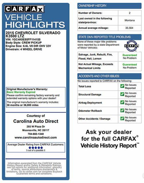 2015 Chevrolet Silverado 3500HD Built After Aug 14 LTZ PLUS Crew Cab 4x4 - DRIVER ALERT PKG! Mooresville , NC 3