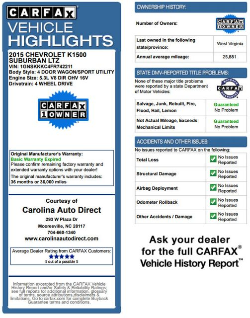 2015 Chevrolet Suburban LTZ 4x4 - NAV - DUAL DVDS - SUNROOF! Mooresville , NC 3