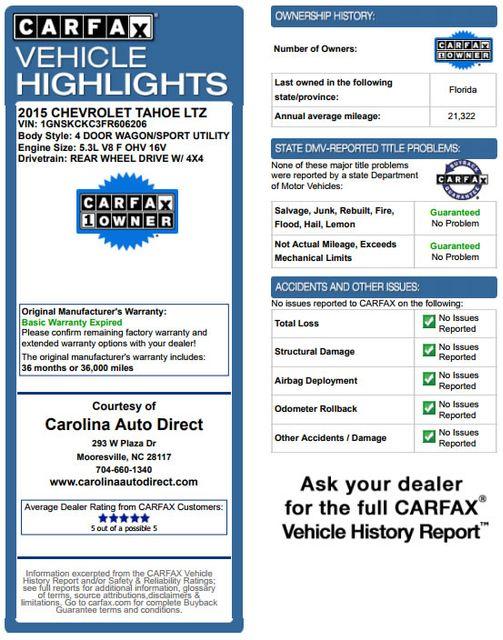 2015 Chevrolet Tahoe LTZ 4WD - NAV - REAR DVD - SUNROOF! Mooresville , NC 2