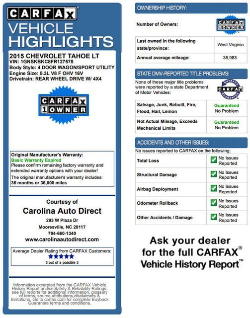 2015 Chevrolet Tahoe LT 4x4 - NAVIGATION - REAR DVD - SUNROOF! Mooresville , NC 3