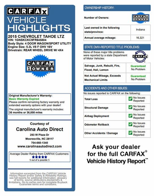 "2015 Chevrolet Tahoe LTZ 4X4 - 22"" ASANTI WHEELS - NAV! Mooresville , NC 3"