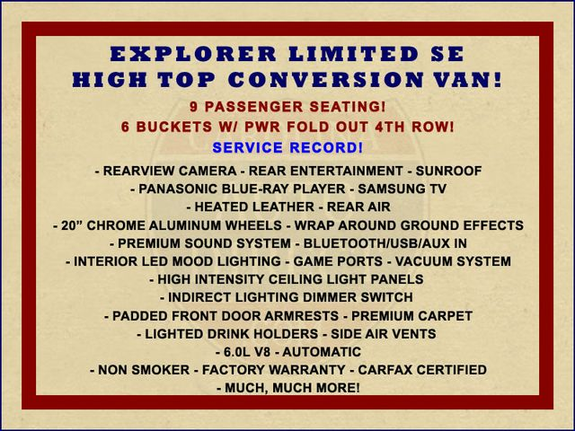 2015 GMC Savana 2500 EXT Van Upfitter EXPLORER LIMITED SE HIGH TOP CONVERSION Mooresville , NC 1