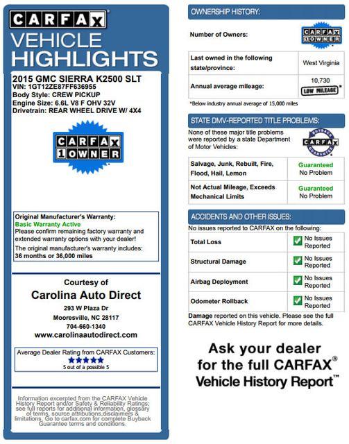 2015 GMC Sierra 2500HD available WiFi SLT Crew Cab 4x4 Z71 - ALL TERRAIN HD EDITION! Mooresville , NC 3