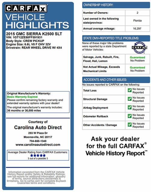 2015 GMC Sierra 2500HD available WiFi SLT Crew Cab 4x4 Z71 - DURAMAX PLUS - NAV Mooresville , NC 3