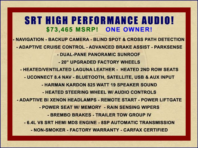 2015 Jeep Grand Cherokee SRT 4WD - SRT HIGH PERFORMANCE AUDIO! Mooresville , NC 1