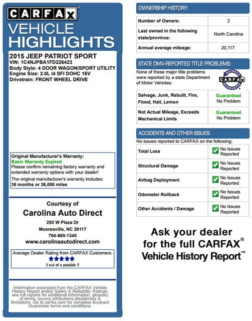 2015 Jeep Patriot Sport FWD - CONTINUOUSLY VARIABLE TRANSAXLE! Mooresville , NC 3