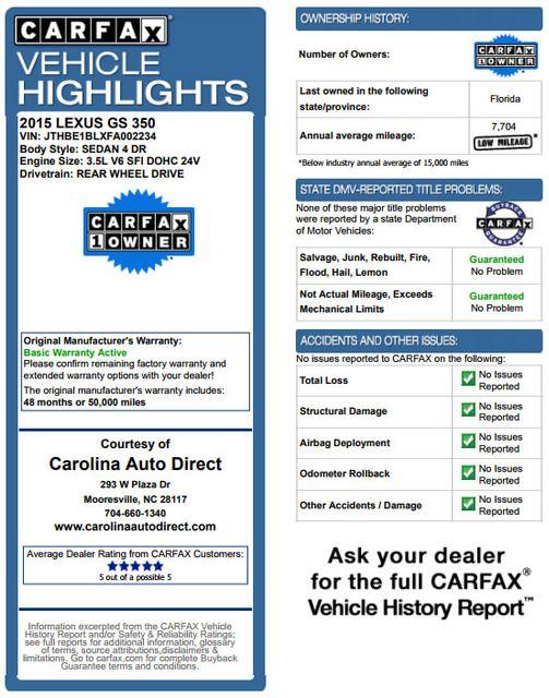 2015 Lexus GS 350 RWD - NAVIGATION - SUNROOF - SERVICE RECORD! Mooresville , NC 3