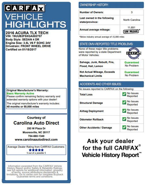 2016 Acura TLX V6 Tech - NAVIGATION - SUNROOF - BLIND SPOT! Mooresville , NC 3