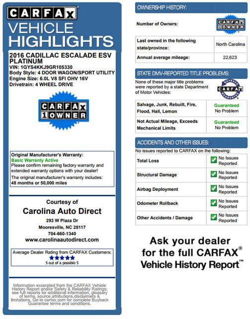 2016 Cadillac Escalade ESV Platinum Edition 4X4 - MSRP $100,235 - NEW TIRES! Mooresville , NC 3