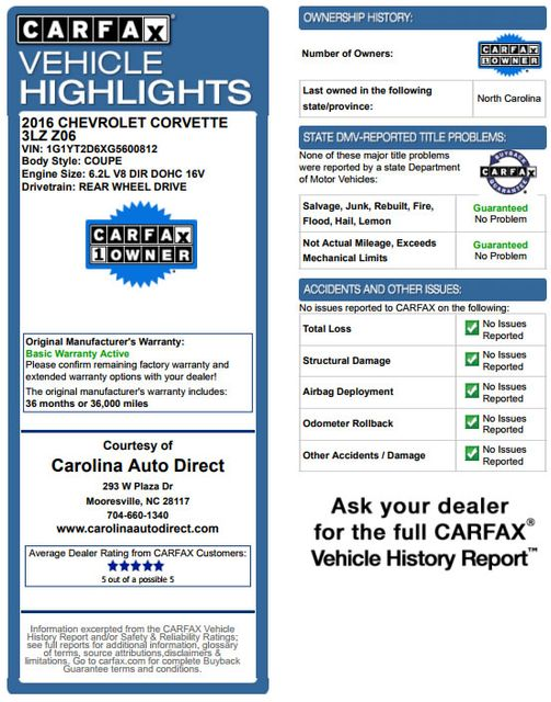 2016 Chevrolet Corvette Z06 3LZ - Z07 PKG - CARBON FIBER - CERAMIC BRAKES! Mooresville , NC 3