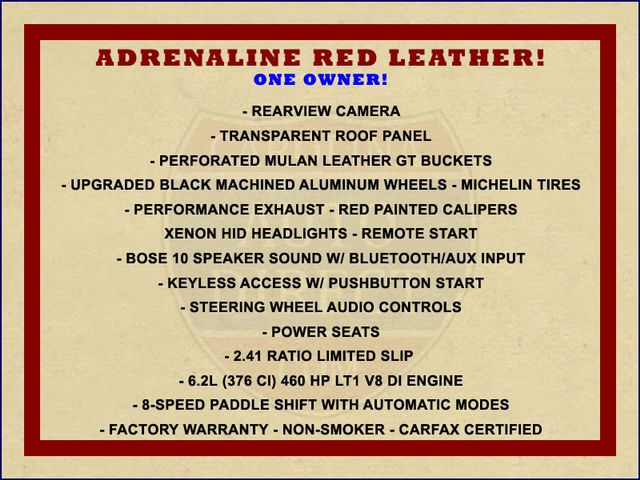 2016 Chevrolet Corvette LT ADRENALINE RED LEATHER - UPGRADED WHEELS! Mooresville , NC 1