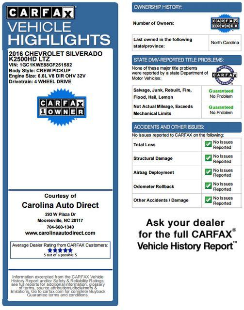 2016 Chevrolet Silverado 2500HD LTZ PLUS Crew Cab 4x4 Z71 - LIFTED! Mooresville , NC 3