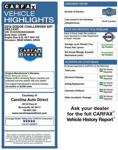 2016 Dodge Challenger SRT Hellcat NAV - SUNROOF - 199 MPH TOP SPEED! Mooresville , NC 3