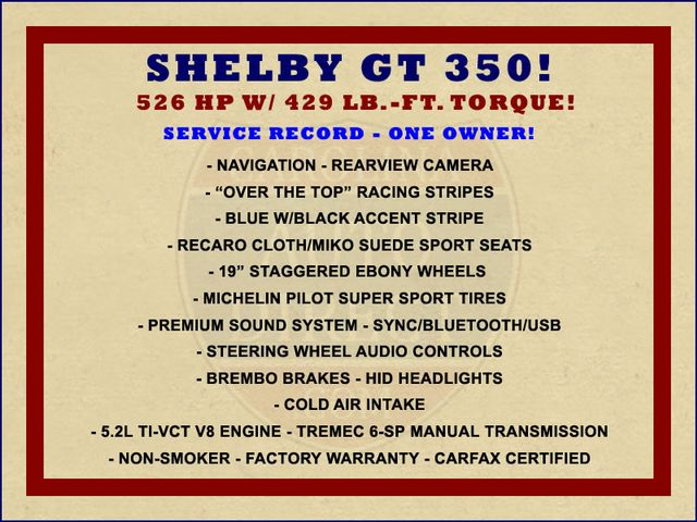 2016 Ford Mustang Shelby GT350 - NAVIGATION - BREMBO! Mooresville , NC 1