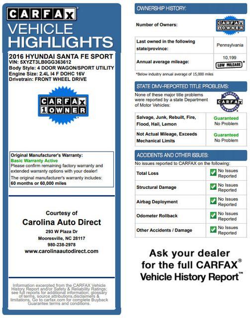 2016 Hyundai Santa Fe Sport FWD - ONE OWNER! Mooresville , NC 3