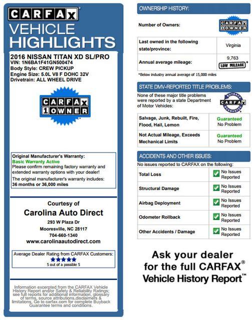 2016 Nissan Titan XD SL Crew Cab 4x4 - CUMMINS DIESEL - EXTRA$! Mooresville , NC 3