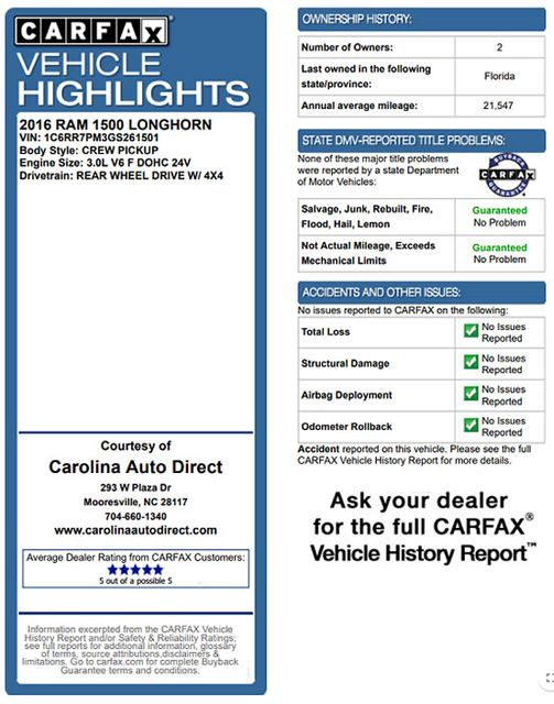 2016 Ram 1500 Longhorn Crew Cab 4x4 - DIESEL - HARD TONNEAU! Mooresville , NC 3