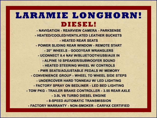 2016 Ram 1500 Longhorn Crew Cab 4x4 - DIESEL - HARD TONNEAU! Mooresville , NC 1