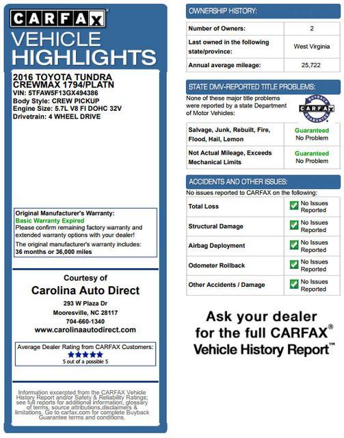 2016 Toyota Tundra 1794 CrewMax 4x4 - NAVIGATION-SUNROOF-BLIS! Mooresville , NC 3