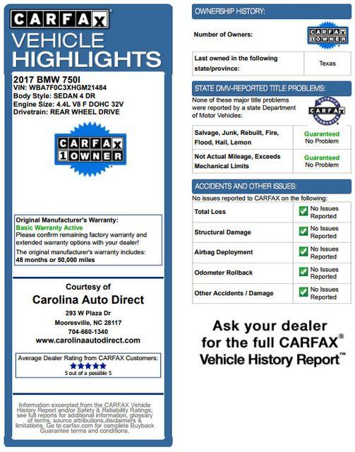 2017 BMW 750i RWD - M SPORT, EXECUTIVE & DRIVER PLUS II PKGS! Mooresville , NC 3
