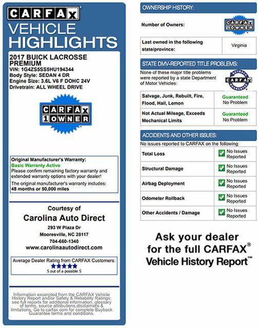 2017 Buick LaCrosse Premium AWD - SIGHTS & SOUNDS PKG! Mooresville , NC 3