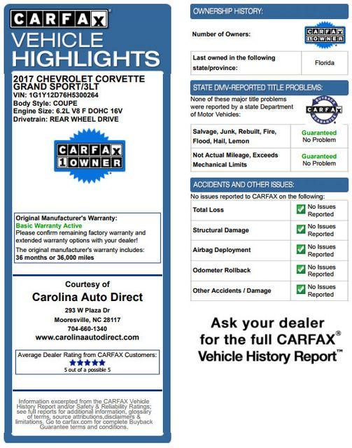 2017 Chevrolet Corvette Grand Sport Collector Edition 3LT - MSRP $89,995! Mooresville , NC 3