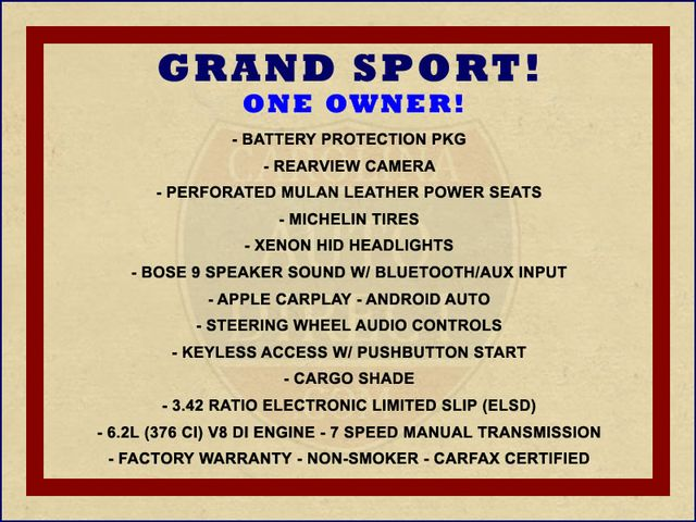 2017 Chevrolet Corvette Grand Sport 1LT - 1 OWNER - 7SP MANUAL! Mooresville , NC 1