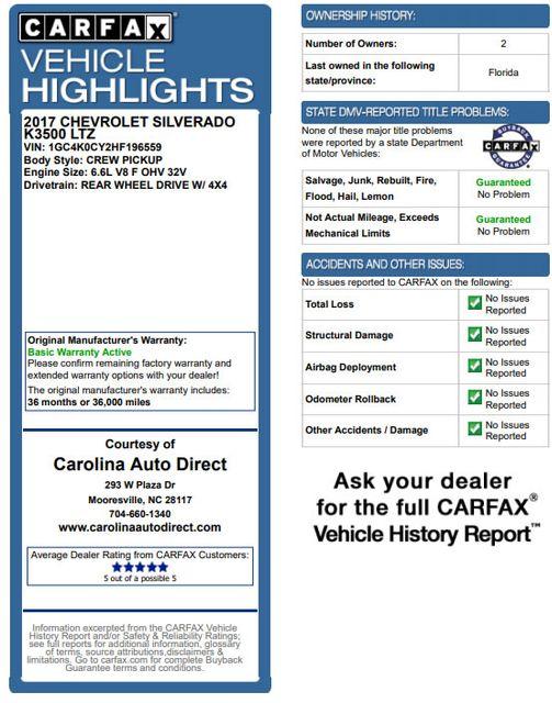 2017 Chevrolet Silverado 3500HD LTZ PLUS Crew Cab Long Bed DRW 4x4 - DURAMAX PLUS! Mooresville , NC 3
