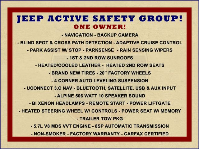 2017 Jeep Grand Cherokee Overland 4WD - JEEP ACTIVE SAFETY GROUP! Mooresville , NC 1