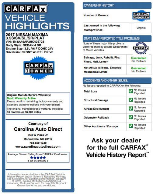 2017 Nissan Maxima Platinum FWD - MEDALLION PKG! Mooresville , NC 3