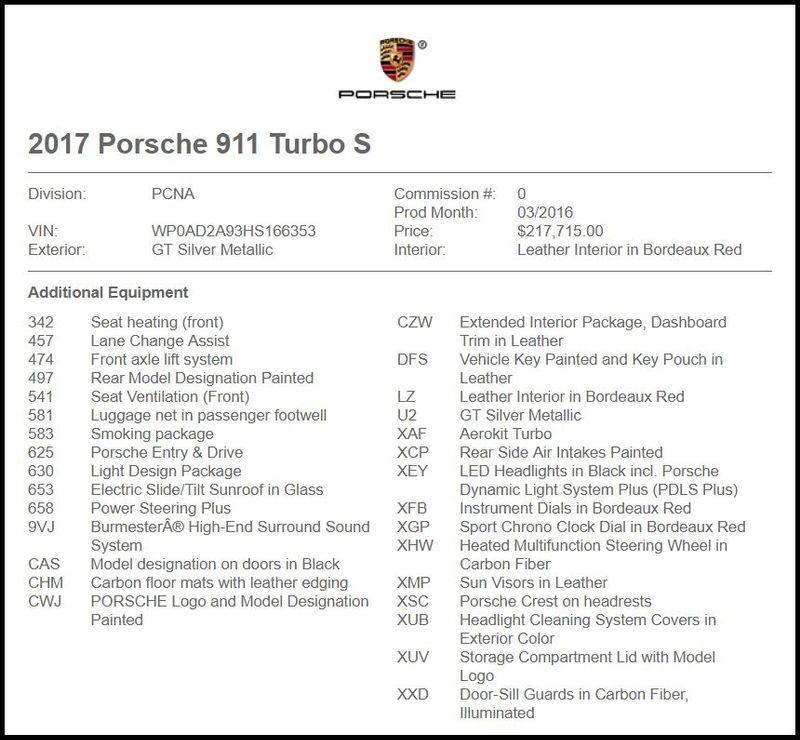 2017 Porsche 911 Turbo S in Carrollton, TX