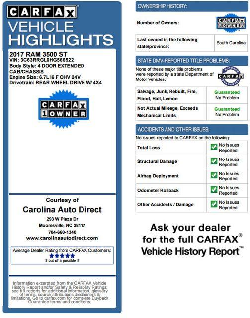 2017 Ram 3500 Tradesman Crew Cab Long Bed 4X4 Mooresville , NC 3
