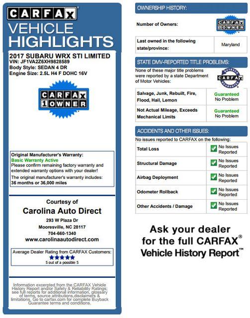 2017 Subaru WRX STI Limited AWD - LOWERED - EXTRA$! Mooresville , NC 3