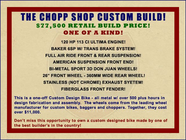 2018 The Chopp Shop Custom Build - $77,500 Retail Build Price! Mooresville , NC 1