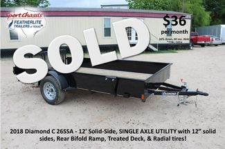 2018 Diamond C 26SSA - 12' Solid-Side, SINGLE AXLE UTILITY CONROE, TX
