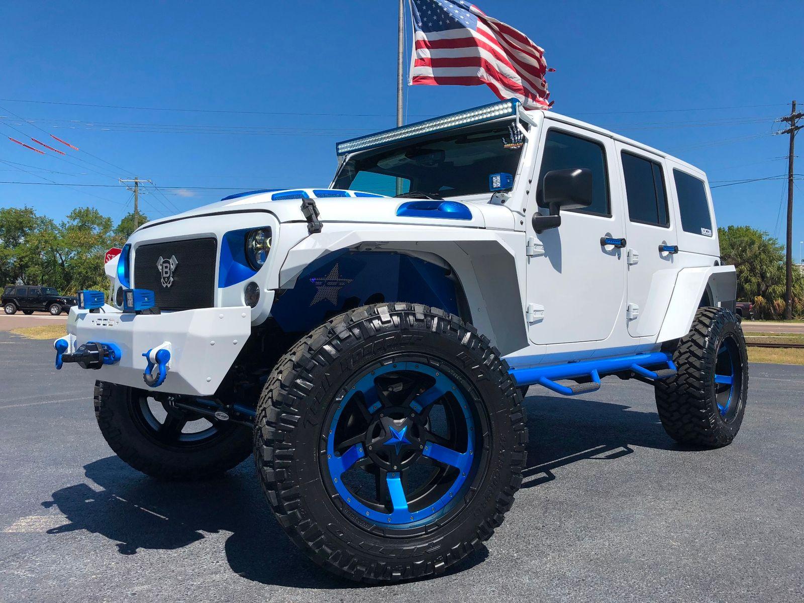 2018 Jeep Wrangler Jk Unlimited Custom White N Blue Lifted