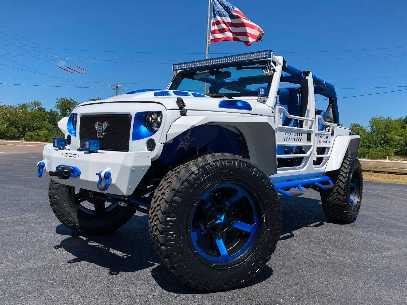 Hydro Blue Jeep Wrangler Unlimited >> 2018 Jeep Wrangler JK Unlimited CUSTOM WHITE N BLUE LIFTED LEATHER HARDTOP Florida Bayshore ...