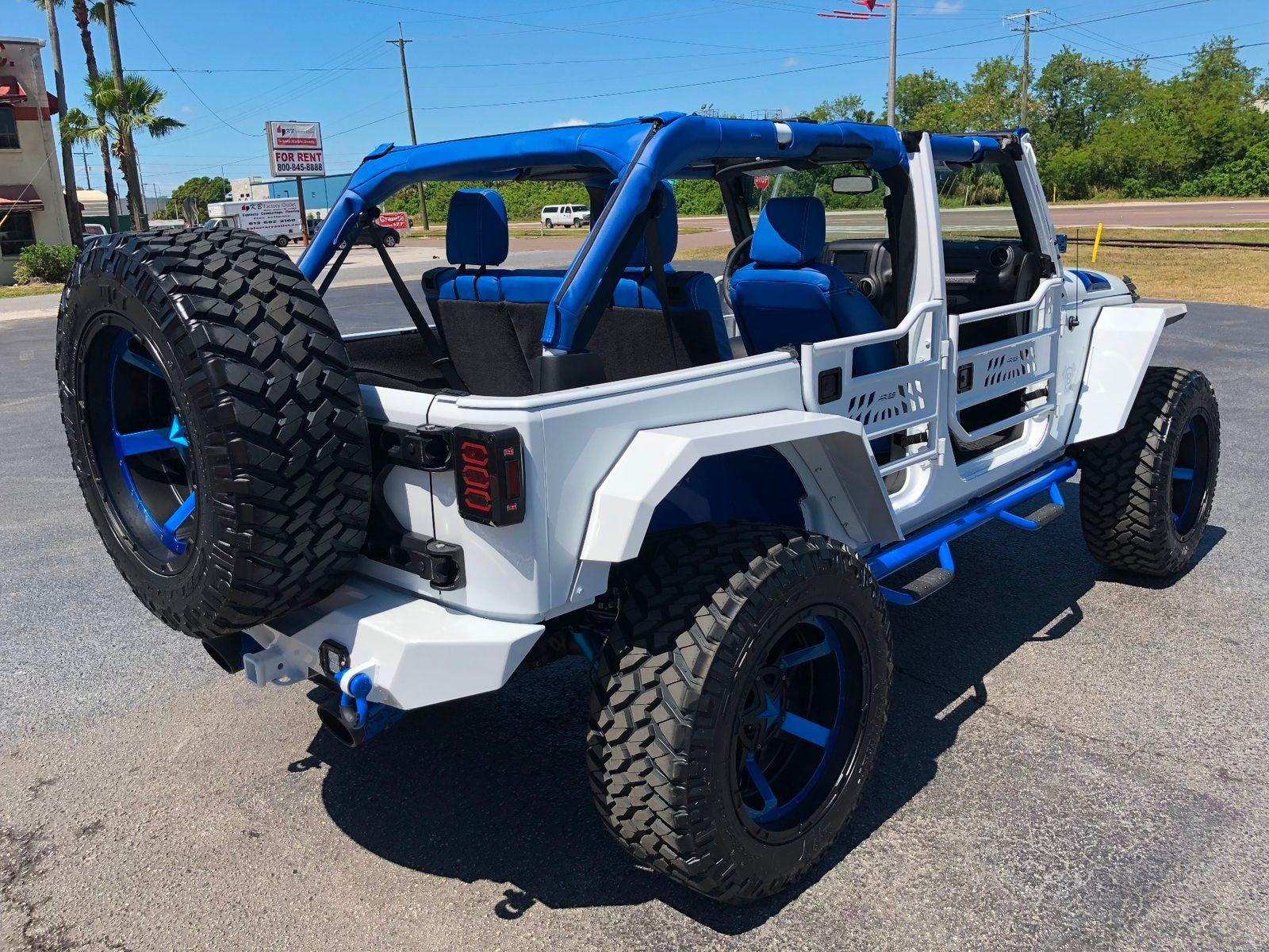 2018 jeep wrangler jk unlimited custom white n blue lifted leather hardtop florida bayshore. Black Bedroom Furniture Sets. Home Design Ideas