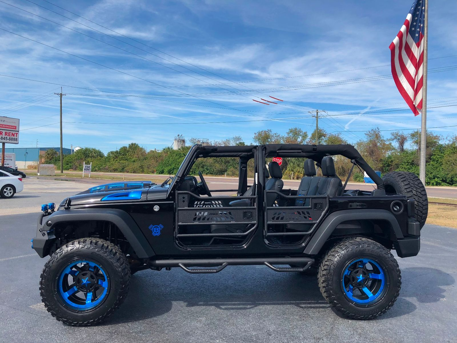 2018 jeep wrangler jk unlimited rubicon black n blue leather hartop heated seats florida. Black Bedroom Furniture Sets. Home Design Ideas