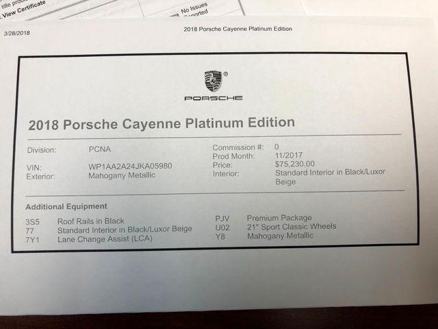 2018 Porsche Cayenne Platinum Edition Longwood, FL 38